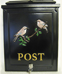 These two little Jays perched on a branch fit perfectly on this small personalised post box with just the word 'POST' below it in gold Times lettering