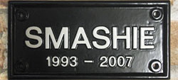 Our Lancaster 2218 is the perfect size and shape for the wording on this special plaque, which is set out in Condensed Times lettering, painted white, with the appropriate Marigold emblem above it, giving an eye-catching splash of colour.