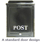 traditional lockable post box with POST emblem