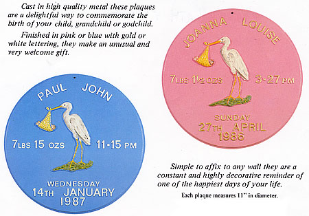 examples of our Birth plaques